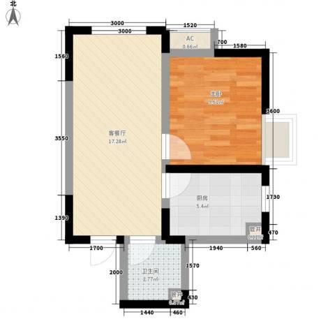 金辉・天鹅湾1室1厅1卫1厨35.91㎡户型图