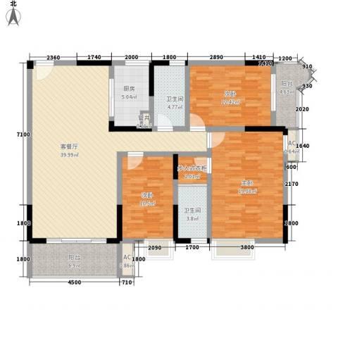 袭汇旺角名门3室1厅2卫1厨137.00㎡户型图