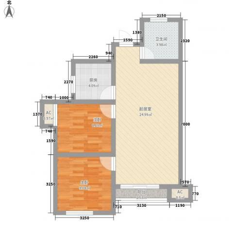 宇圣明珠2室0厅1卫1厨78.00㎡户型图