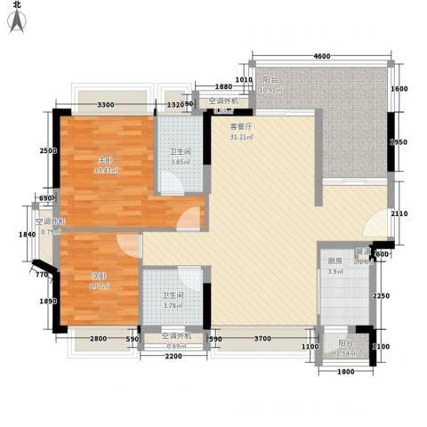 金达锦绣东方2室1厅2卫1厨114.00㎡户型图