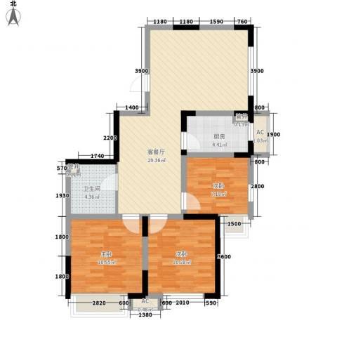 金辉・天鹅湾3室1厅1卫1厨68.30㎡户型图