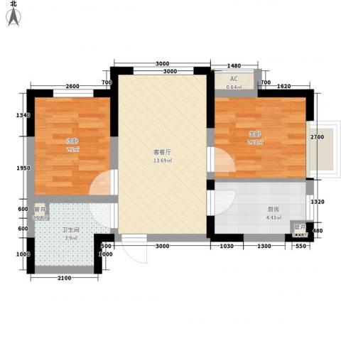 金辉・天鹅湾2室1厅1卫1厨56.00㎡户型图