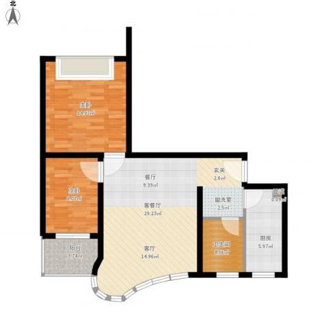 万邦都市花园2室1厅1卫1厨94.00㎡户型图