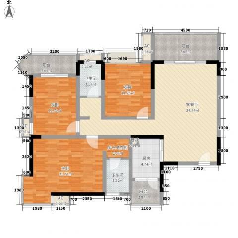 袭汇旺角名门3室1厅2卫1厨134.00㎡户型图