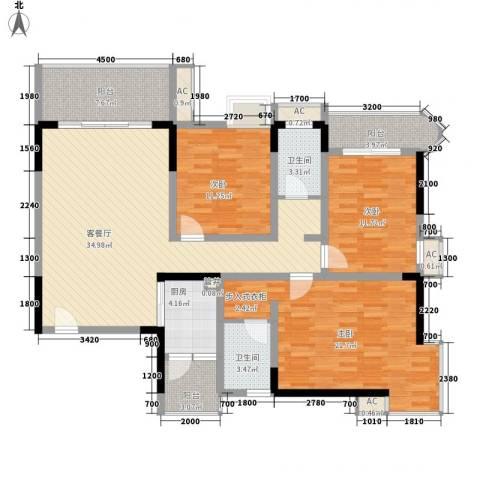袭汇旺角名门3室1厅2卫1厨157.00㎡户型图