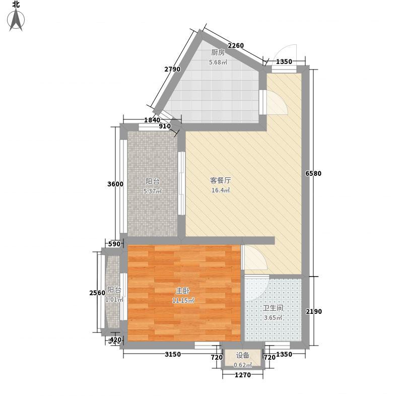 中央坡公馆57.01㎡中央坡公馆户型图E户型平面图1室1厅1卫1厨户型1室1厅1卫1厨