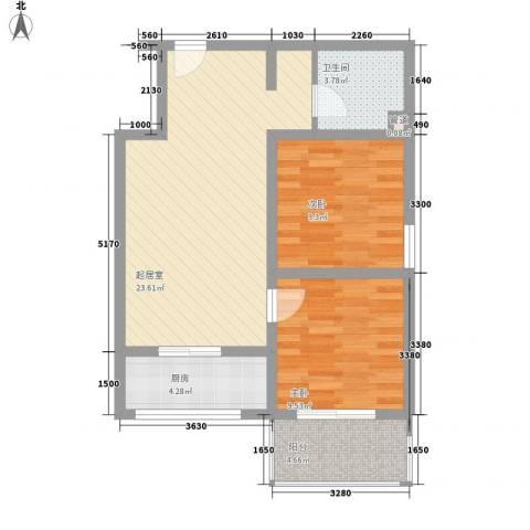 新升・琦锋苑2室0厅1卫1厨72.00㎡户型图