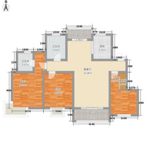 玉宇新苑3室1厅2卫1厨134.00㎡户型图