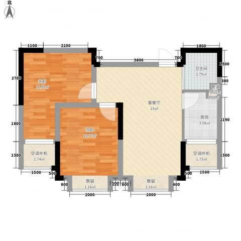 中天北湾新城2室1厅1卫1厨71.00㎡户型图