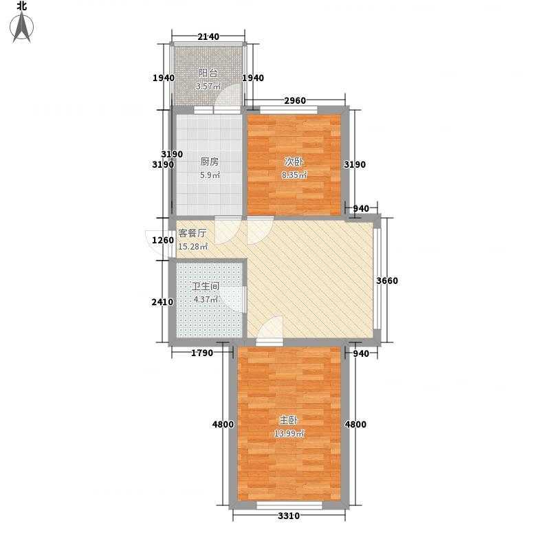 祥和家园47.03㎡户型2室1厅1卫1厨