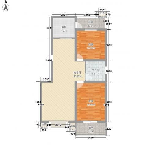 江南鸿郡2室1厅1卫1厨96.00㎡户型图