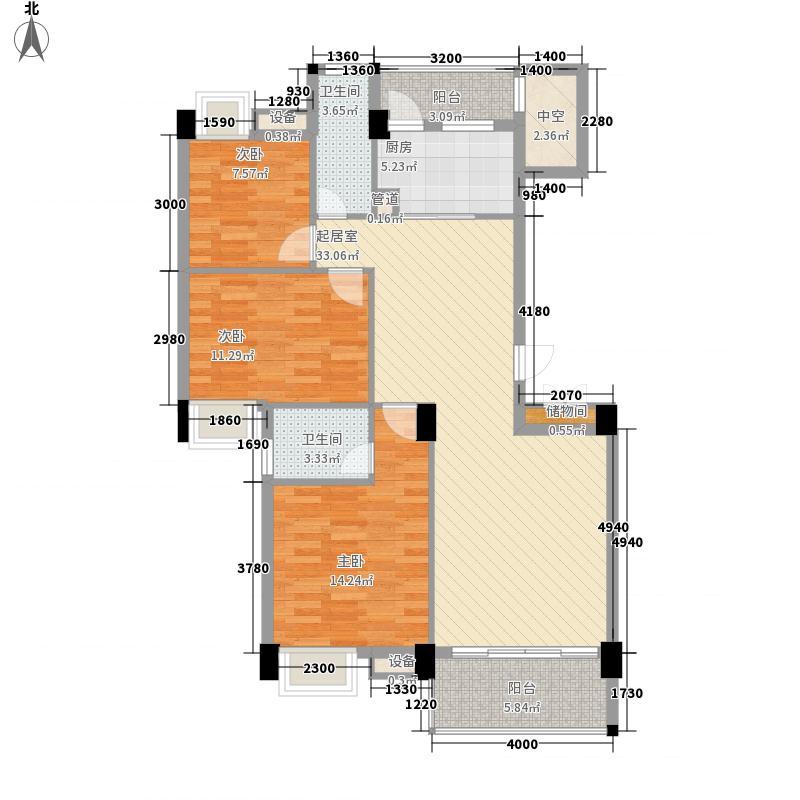 凤鸣轩11.46㎡一期二号楼标准层A户型3室2厅2卫1厨