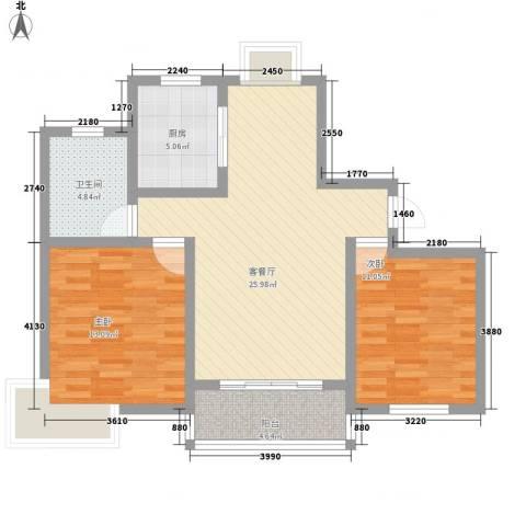 玉宇新苑2室1厅1卫1厨93.00㎡户型图