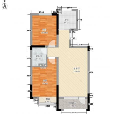 中天北湾新城2室1厅1卫1厨88.00㎡户型图