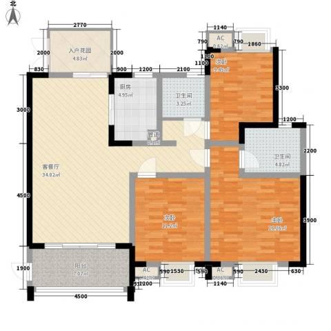 世纪城龙吉苑3室1厅2卫1厨97.34㎡户型图