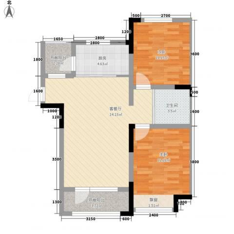 中天北湾新城2室1厅1卫1厨89.00㎡户型图