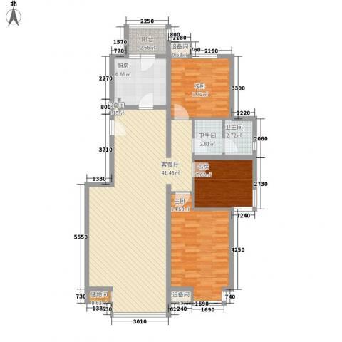 帝豪天下3室1厅2卫1厨129.00㎡户型图