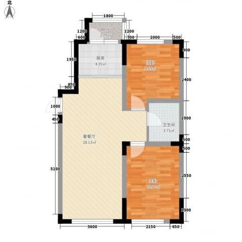 中天北湾新城2室1厅1卫1厨86.00㎡户型图