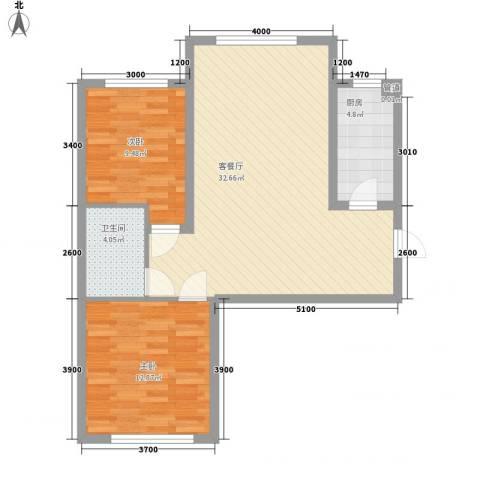 恒奥・凤凰城2室1厅1卫1厨63.88㎡户型图