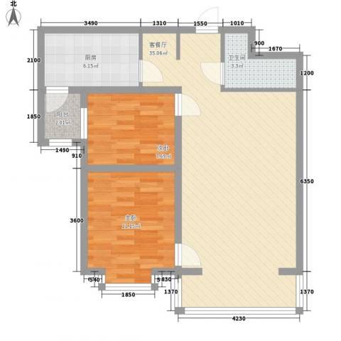 恒奥・凤凰城2室1厅1卫1厨65.36㎡户型图