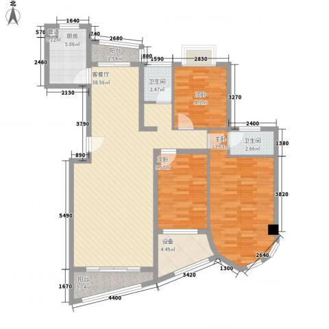 绿苑新城3室1厅2卫1厨134.00㎡户型图