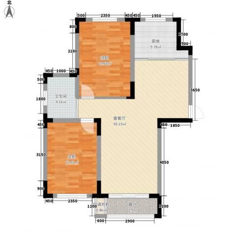 中天北湾新城2室1厅1卫1厨92.00㎡户型图