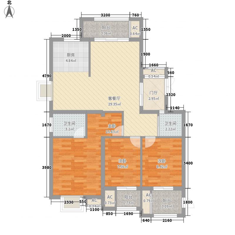福晟钱隆大第117.00㎡8#04单元E2户型117平米户型3室2厅2卫1厨