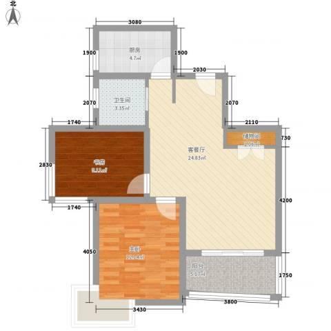 吉富绅花园2室1厅1卫1厨88.00㎡户型图