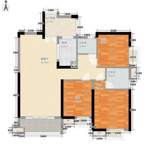 世纪城龙吉苑3室1厅2卫1厨135.00㎡户型图