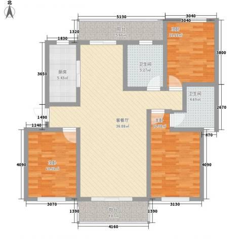 方舟休闲广场3室1厅2卫1厨138.00㎡户型图