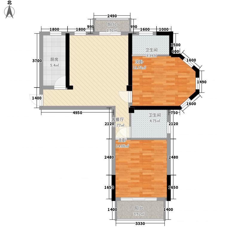 温哥华179213#楼南北朝向01户型2室2厅2卫1厨