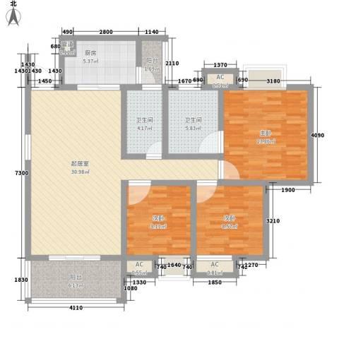 荣华北经城3室0厅2卫1厨128.00㎡户型图