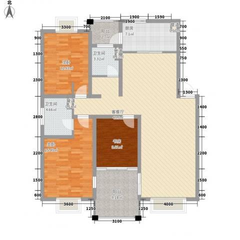 美兰湖颐景园3室1厅2卫1厨137.00㎡户型图
