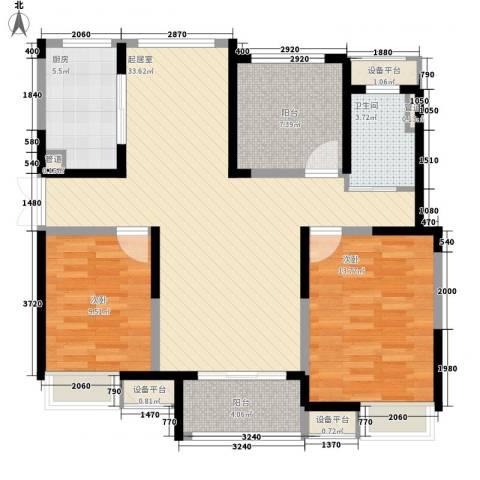 绿洲天逸城2室0厅1卫1厨116.00㎡户型图