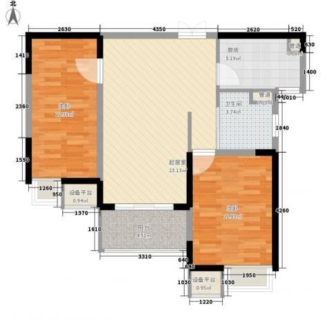绿洲天逸城2室0厅1卫1厨90.00㎡户型图