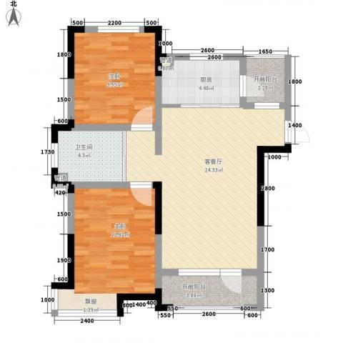 中天北湾新城2室1厅1卫1厨91.00㎡户型图