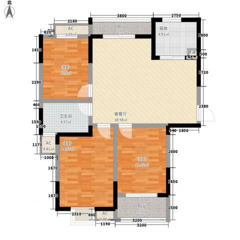 万福・君临天下3室1厅1卫1厨115.00㎡户型图
