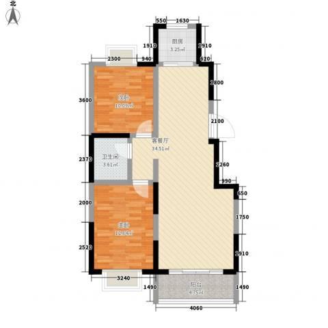 保利花园2室1厅1卫1厨69.05㎡户型图