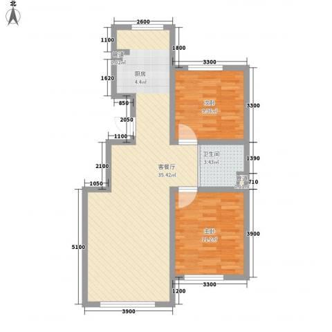 良品柏宏爱琴湾2室1厅1卫0厨85.00㎡户型图