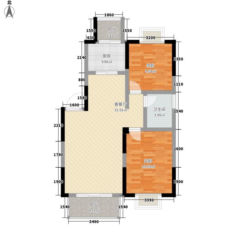 保利花园1.84㎡a2户型2室2厅1卫1厨
