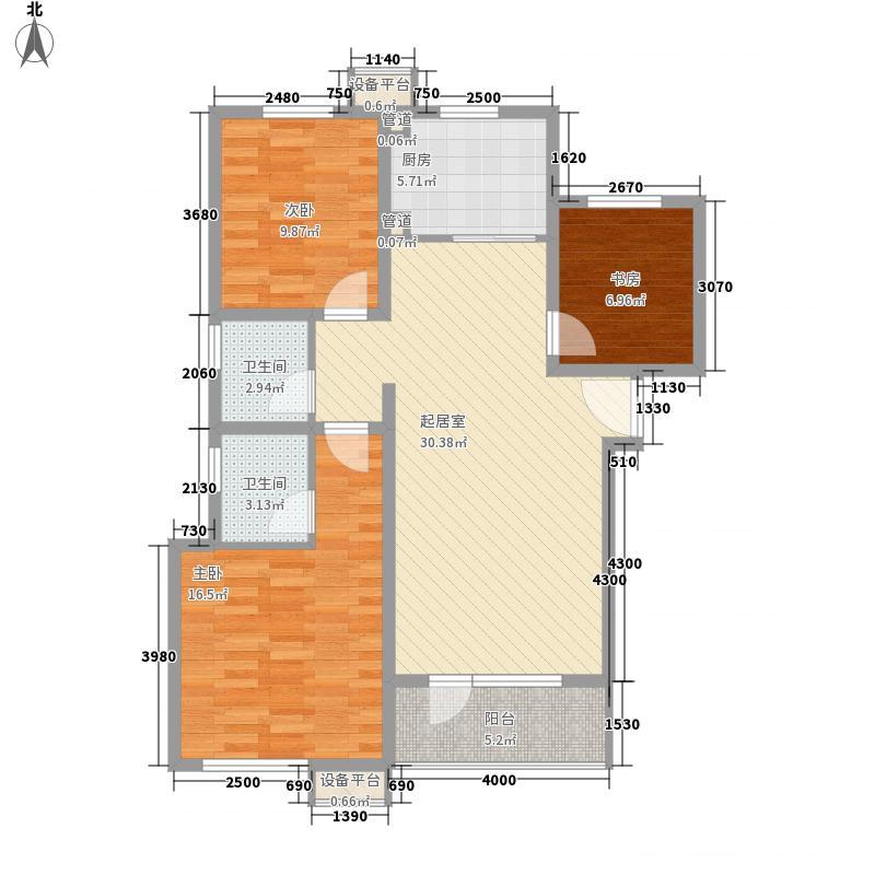 满庭春MOMA18.00㎡Ⅱ季35-1、37#、38#楼标准层户型3室2厅2卫1厨