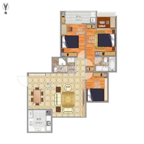 米兰花园4室1厅3卫1厨115.00㎡户型图