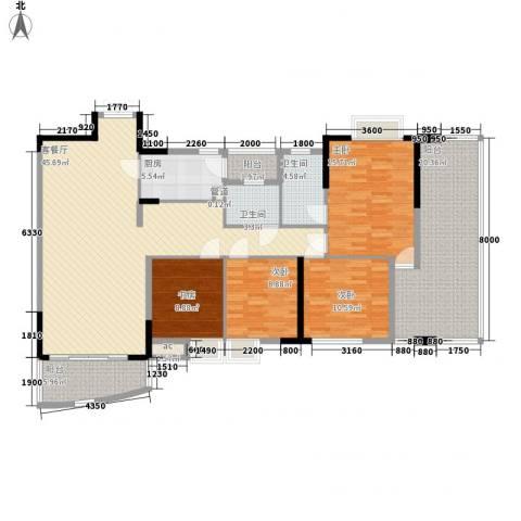 江滨花园4室1厅2卫1厨185.00㎡户型图