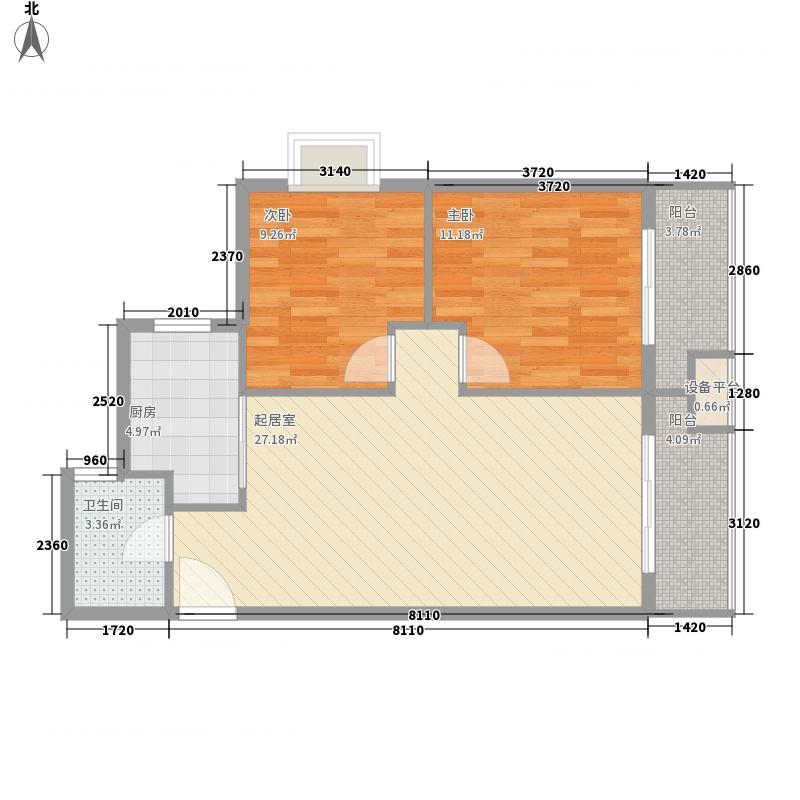 明珠花园82.44㎡D标准层户型2室2厅1卫1厨