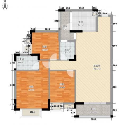 三正财富新地花园3室1厅2卫1厨129.00㎡户型图