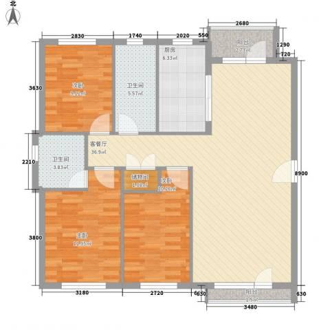 龙王塘一号3室1厅2卫1厨125.00㎡户型图