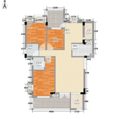 中铁逸都国际3室1厅2卫1厨115.00㎡户型图