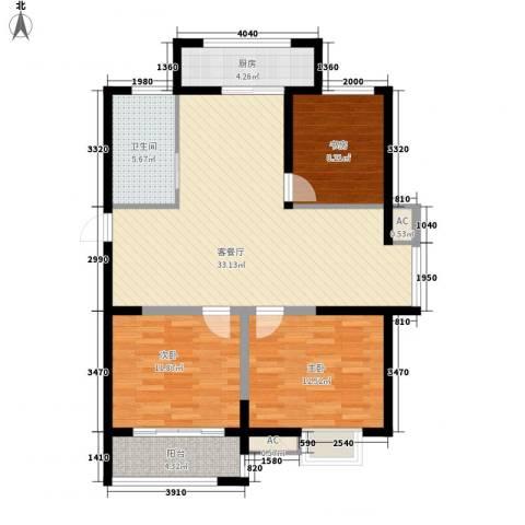 博奥东苑3室1厅1卫1厨115.00㎡户型图