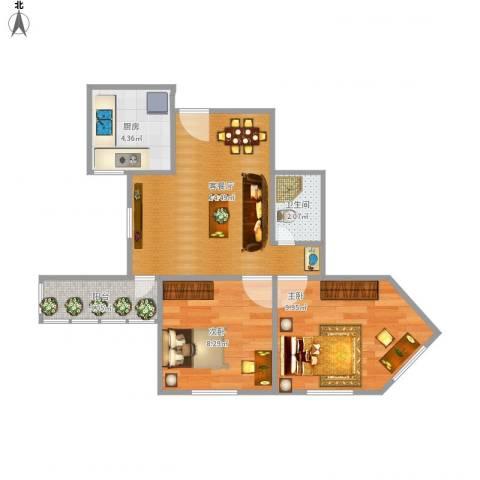 太平桥西里2室1厅1卫1厨58.00㎡户型图