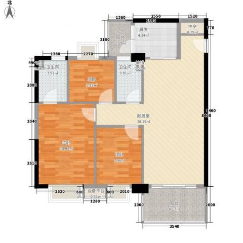 精英名都3室0厅2卫1厨99.00㎡户型图
